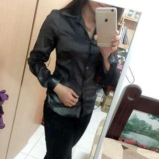 細條紋顯瘦黑色襯衫