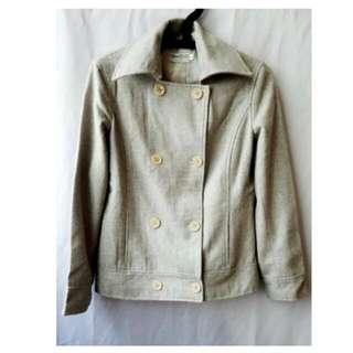 全新日貨 超好看 雙排釦高成分80%羊毛尼挺版西裝外套(米灰)