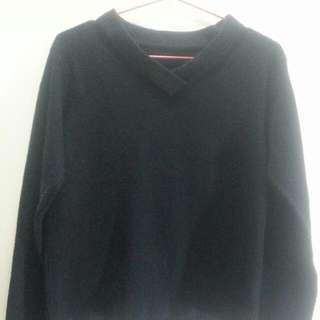 日本帶回百搭V領黑毛衣