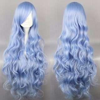 Ice Blue Baby // Solid Steel Sky 90cm Wavy Hair Wig