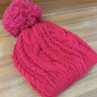 可愛 紅色毛帽 大毛球