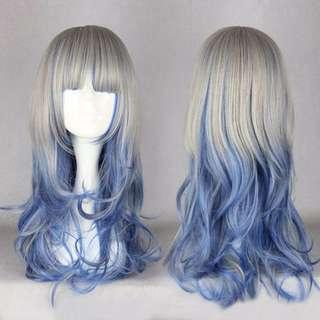 Silver Moon Fairy // Slate Grey Cerulean Blue Ombre Gradient Dip Dye 60cm Wavy Hair Wig