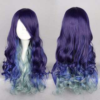 Nautical Goddess // Violet Sky Baby Slate Blue Ombre Gradient Dip Dye 30cm Wavy Hair Wig