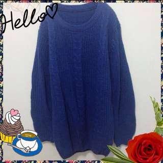 韓寶藍針織麻花寬袖毛衣