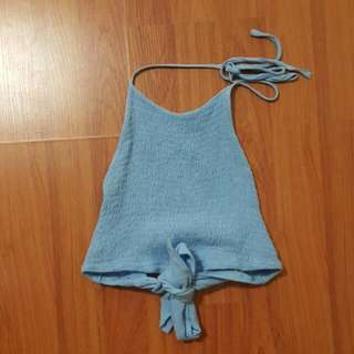 Blue Backless Crop Sml