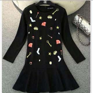 日系超可愛印花荷葉邊連身裙