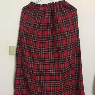 全新 英倫風紅格紋長裙