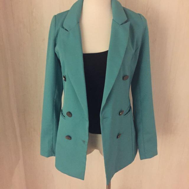 正韓綠色合身西裝外套