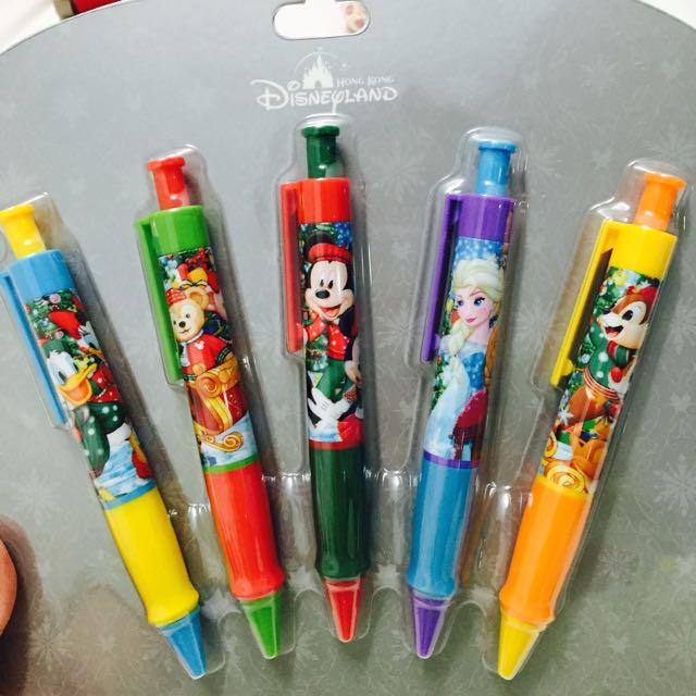 香港迪士尼造型筆組合達菲*冰雪奇緣*奇奇蒂蒂*米奇*唐老鴨