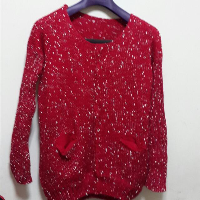 全新*深紅白點長版毛線衣*米裸色披風式外套.毛線衣