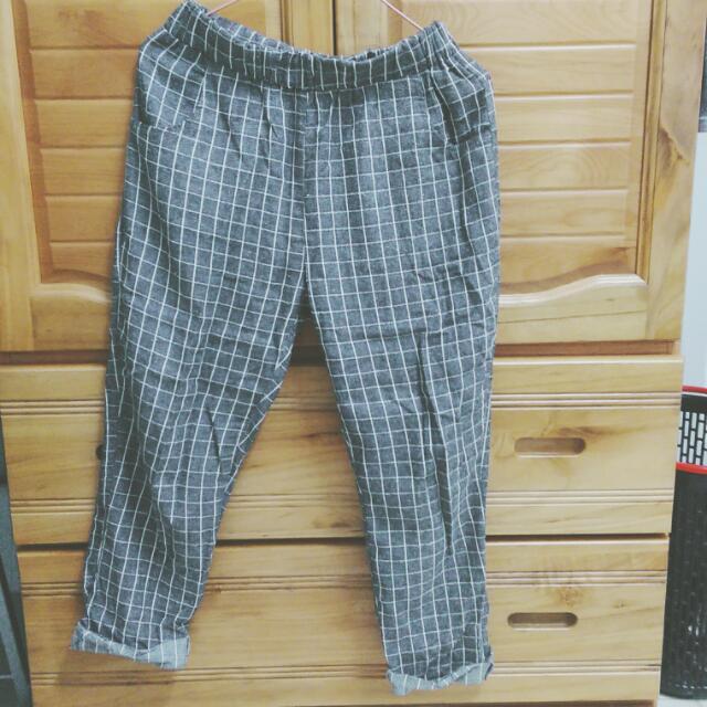 格紋老爺褲(灰黑)