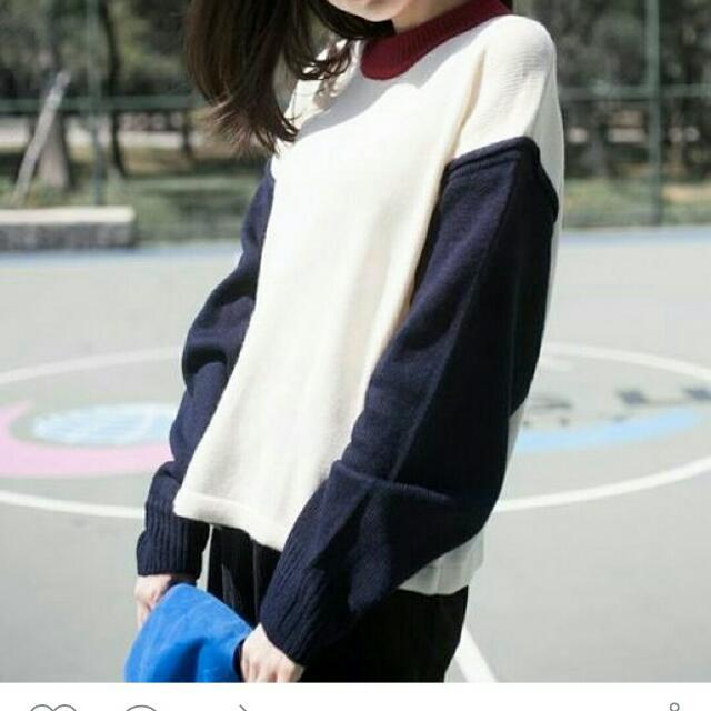 韓國拼色毛衣