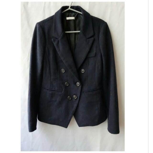 【正韓】全新 雙排釦挺版修身中長版厚毛尼西裝外套(藏青/深藍)