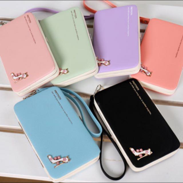 韓版高跟鞋手機皮夾( 大容量手機錢包 )藍色