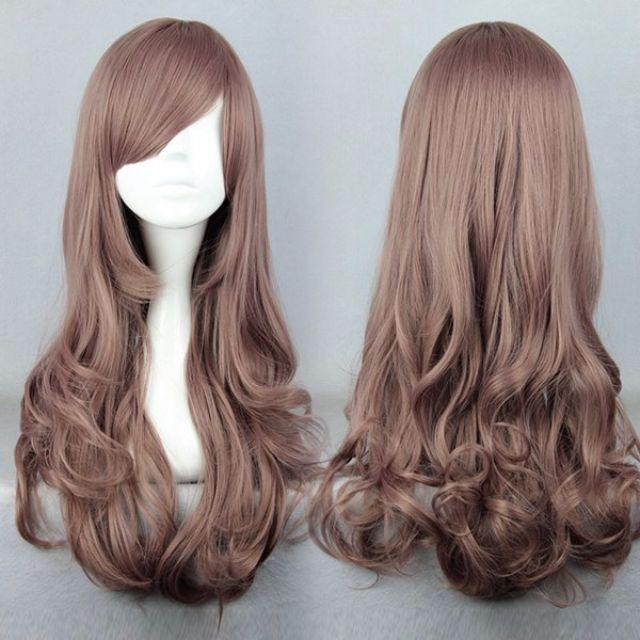 Almond Blonde // Light Brown Beige Pink 60cm Wavy Hair Wig