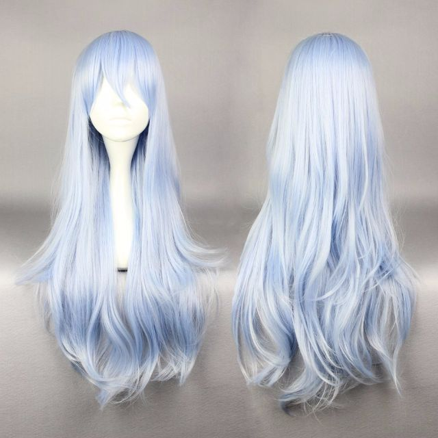 Baby Blue Skies // Light Pastel Ombre Gradient Dip Dye 75cm Wavy Hair Wig