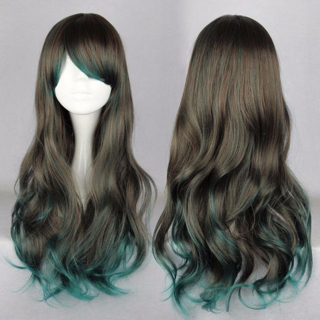 Bioshock Gamer // Misty Ash Brown Teal Ombre Gradient Dip Dye 68cm Wavy Hair Wig