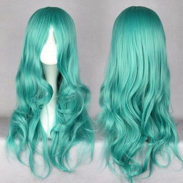 Deep Teal Sea (65cm) // Medium Bright Green Wavy Hair Wig