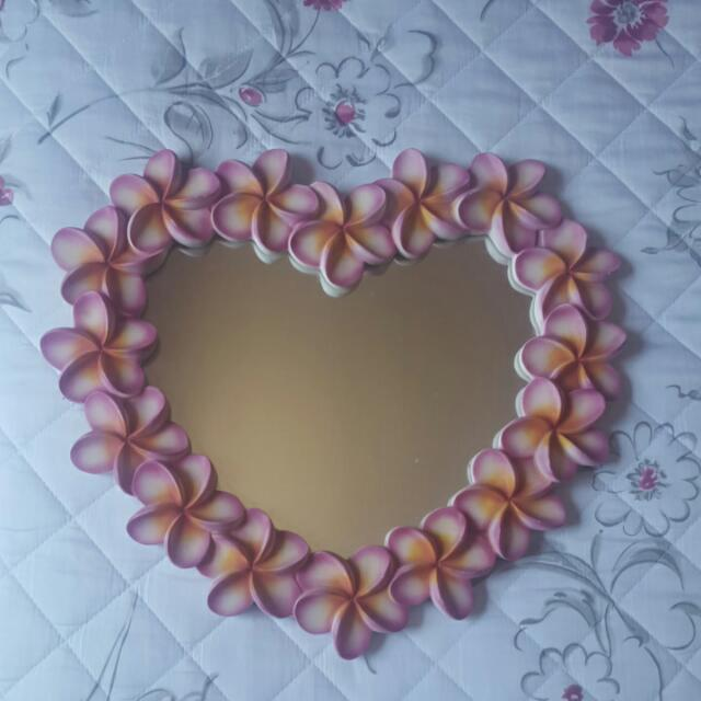 Heart Shaped Frangipani Mirror