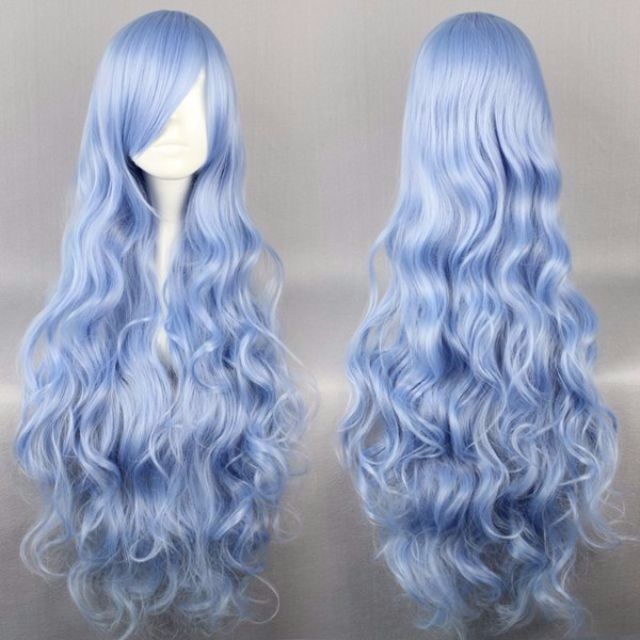 Ice Blue Baby // Solid Steel Sky 90cm Wavy Hair Wig