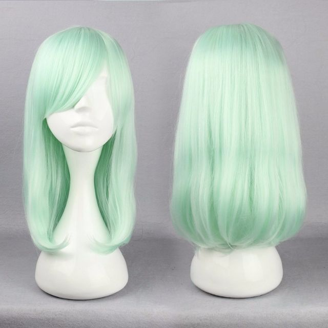 Ice Green Mint Tea (42cm) // Solid Pastel Seafoam Effect Medium Bob Hair Wig