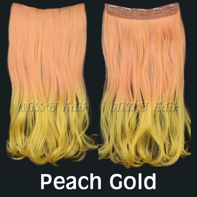 Peach Gold Pastel Ombre Gradient Mermaid Candy Dip Dye 20 50cm