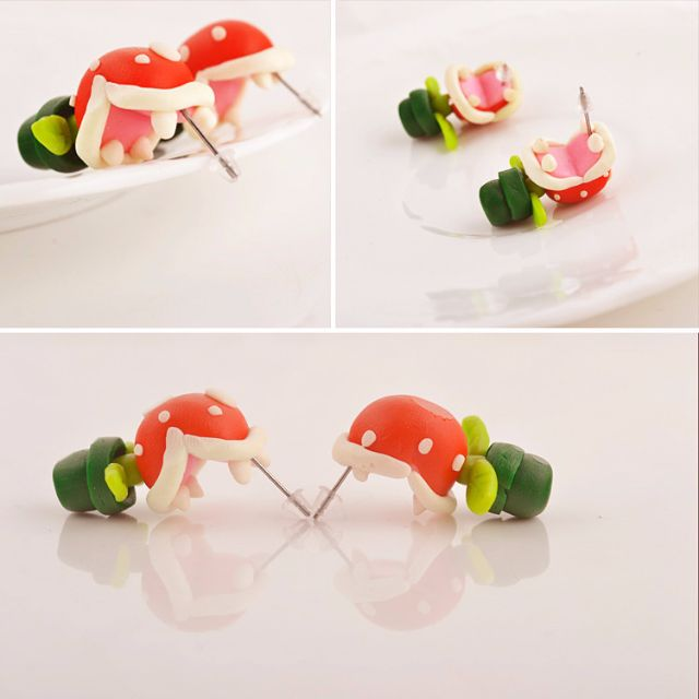 Poly-Clay Earrings [Mario Piranha Plant, Chain Chomp, & Totoro]