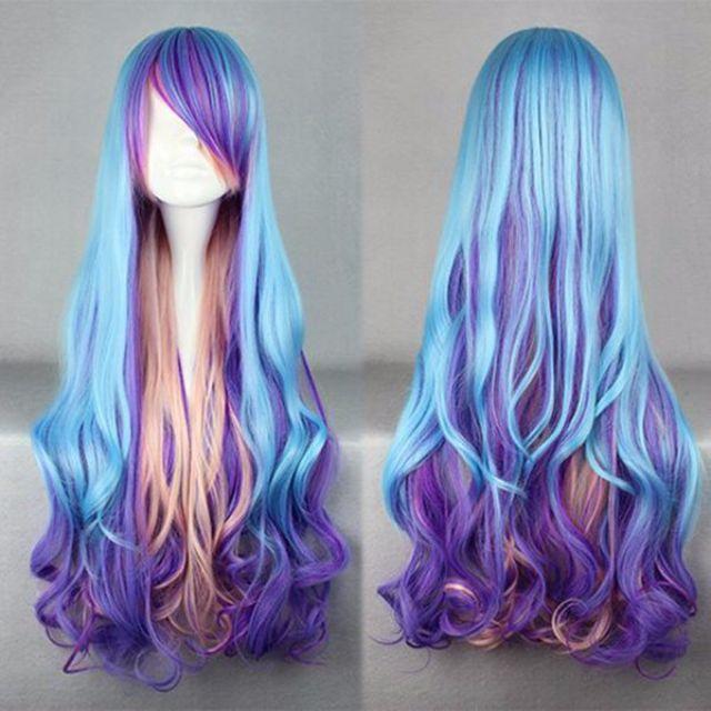 Siren Maiden // Violet Sky Blue Baby Pink Ombre Gradient Dip Dye 80cm Wavy Hair Wig