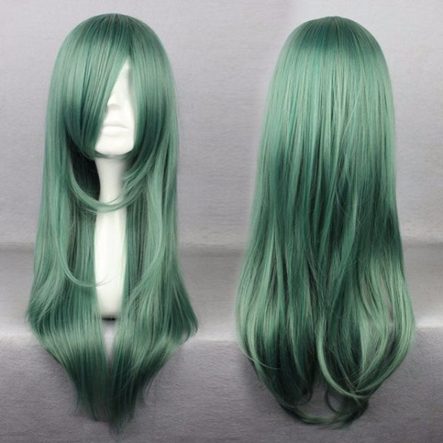 "Subtle Aqua Mermaid // Solid Pastel Light Green 68cm 26"" Wavy Hair Wig"