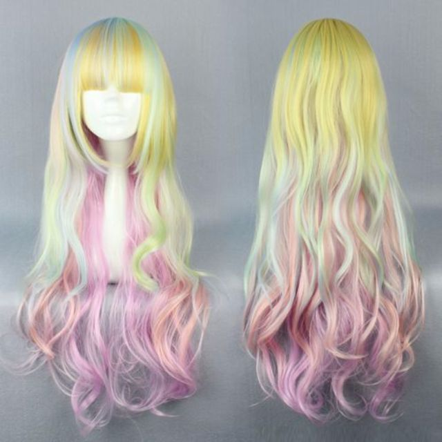The Rollergirl // Pastel Yellow Blue Pink Ombre Gradient Mermaid Candy Dip Dye 80cm Wavy Hair Wig