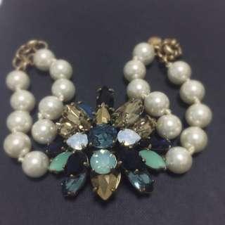JCREW Crystal & Pearl Bracelet