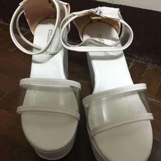 楔型鞋厚底鞋 白色 售200元