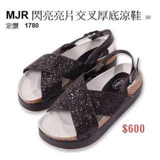 MAJOR閃亮亮片交叉厚底涼鞋39