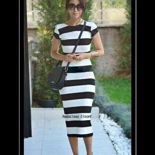 Striped Low Back Dress