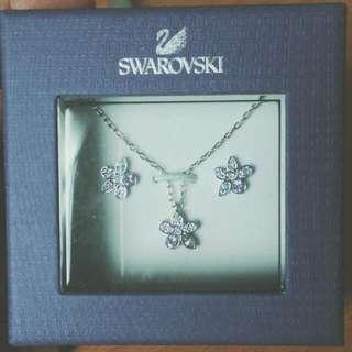 施華洛世奇-小花朵項鍊+耳環