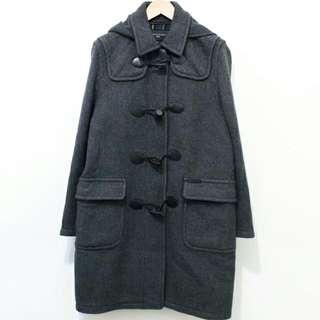 格紋內裡牛角扣羊毛連帽大衣外套 (深灰)