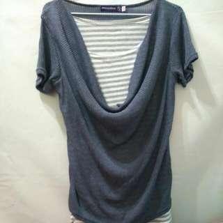 灰藍 條紋 針織衣