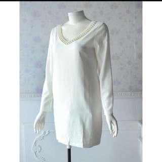 全新白色洋裝(有泛黃
