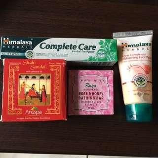 印度 喜馬拉雅 白達瑪脂淨白洗面乳50ml+草本牙膏40g+印度購入他牌香皂2個125/50g 售350