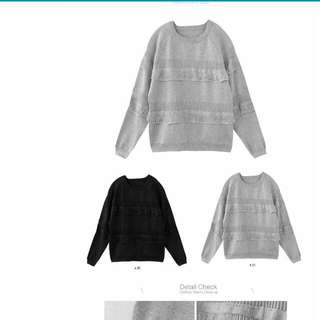黑色流蘇設計針織衫