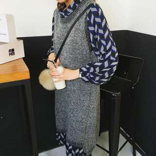 韓 復古幾何荷葉邊長裙連身裙 X 混灰毛線編織長版毛衣背心 前短後長 全新免運