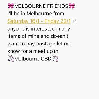 Coming To Melbourne!!!