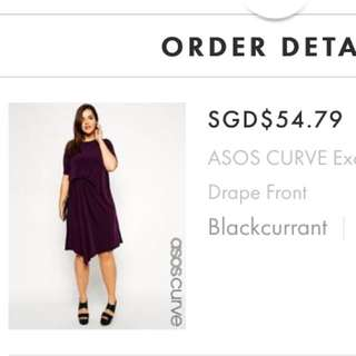 BN ASOS Curve Dress Uk18 With drape Front