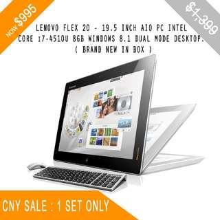 LENOVO FLEX 20 - 19.5 INCH AIO PC /INTEL CORE i7-4510U 8GB WINDOWS 8.1 DUAL MODE DESKTOP. BRAND NEW