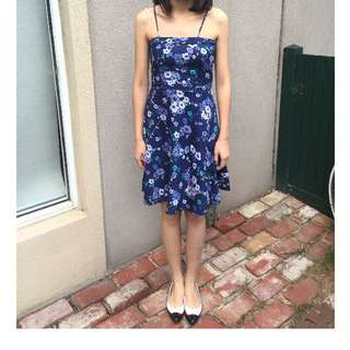 YALY COUTURE Blue Floral Cotton Dress Size 6 - 8