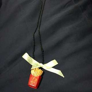 Preloved French Fries Necklace with green and white polka dot ribbon