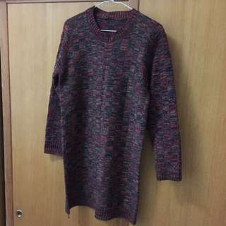 彩色針織長袖洋裝