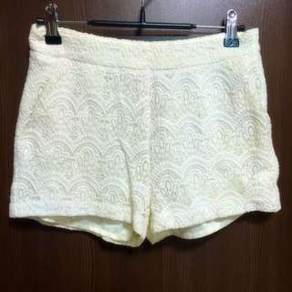 Pazzo白色蕾絲🕸雕花短褲