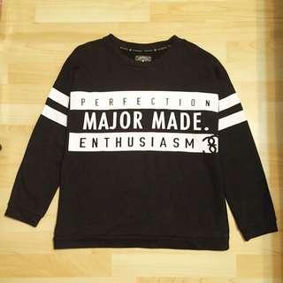 Major made 黑色警語大學T上衣 M號