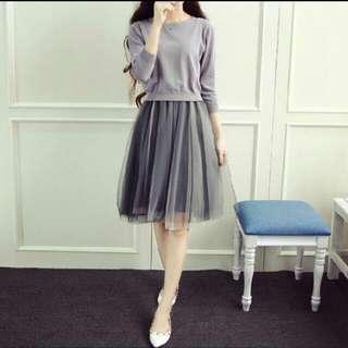 轉售-灰色針織衫+連身澎裙-全新